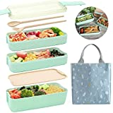 Ozazuco Bento Box Japanese Lunch Box, 3-In-1 Compartment, Wheat Straw, Leak-proof Eco-Friendly Bento...