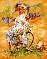 NC56 大人と子供のためのDIYデジタル絵画キット自転車に乗る家の壁の装飾の女の子のためのブラシとアクリル絵の具で初心者のためのキャンバス油絵キット
