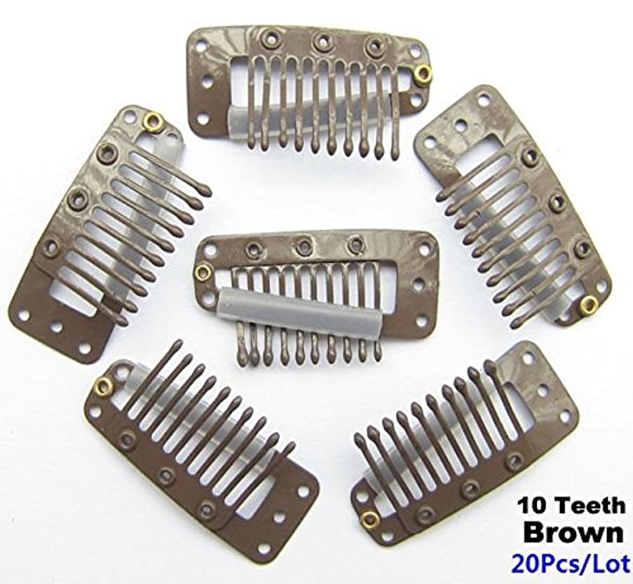 AKOAK 20 Pcs/Lot 3.6cm 10-teeth Brown Metal Snap Comb Wig Clips with Rubber for Hair Extension