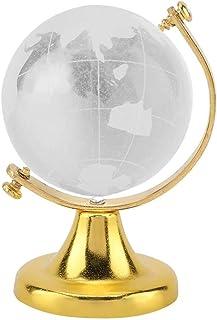 Wifehelper Crystal Globe, Crystal Ball Glass Sphere Display Globe, Round Earth Globe World Map Crystal Glass Ball Sphere H...
