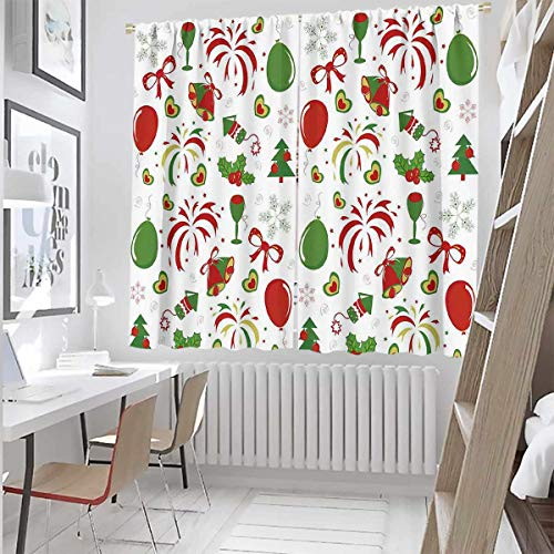 Christmas 99% Blackout Curtains Snowman with hat in The Garden with Gift Box and Lantern Image for Bedroom,Kindergarten,Living Room W42 x L84 Inch