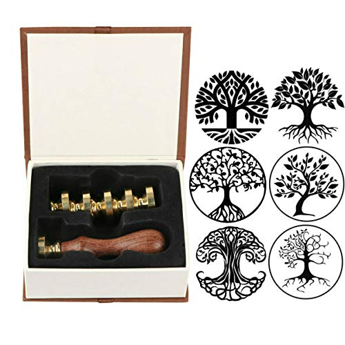 Letter M+Tree of Life+Rose+Heart+with Love VIHOME 6 Pieces Sealing Wax Stamps Copper Seals 1 Wooden Handle Invitations Wax Seal Stamp Set Retro Wax Stamp Kit for Cards Envelopes