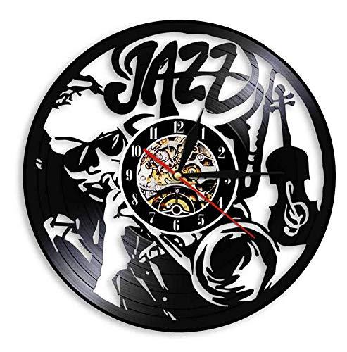 Vinilo de Pared Reloj Reloj de Pared con Disco de Vinilo de Jazz Art Regalo para Amantes de la música saxofón música clásica Reloj de Pared Adorno Vintage 12'