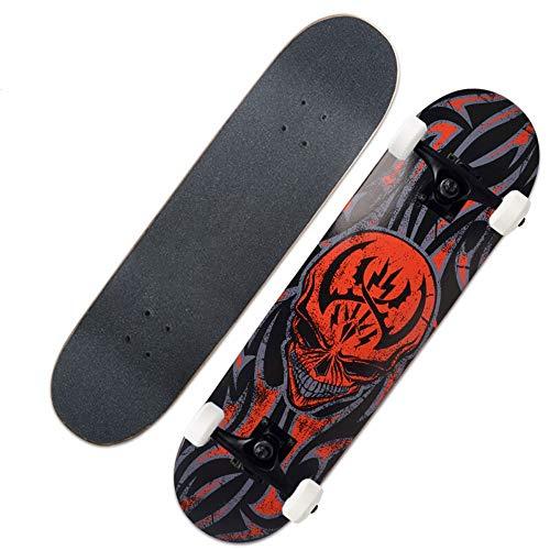 ZAIHW Skateboard - 31 X 8 Zoll Komplettes PRO Skateboard - Double Kick 7 Lagen Ahornholz Adult Tricks Skateboard, für Anfänger oder Profi - Skull (Farbe : A)