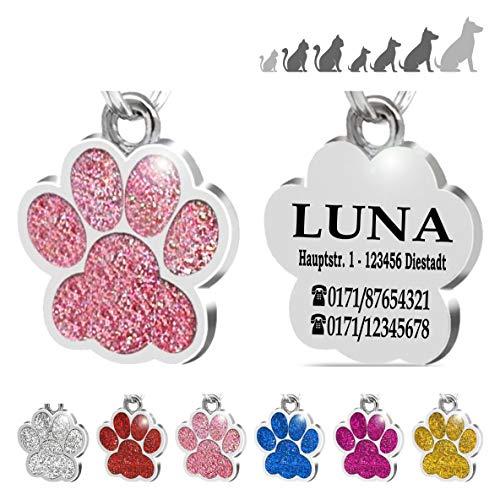 Placa Chapa de identificación Personalizada para Collar Perro Gato Mascota grabada (Rosa)