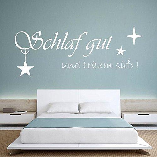 denoda® Schlaf gut und träum süß! - Wandtattoo Schwarz 63 x 25 cm (Wandsticker Wanddekoration Wohndeko Wohnzimmer Kinderzimmer Schlafzimmer Wand Aufkleber)