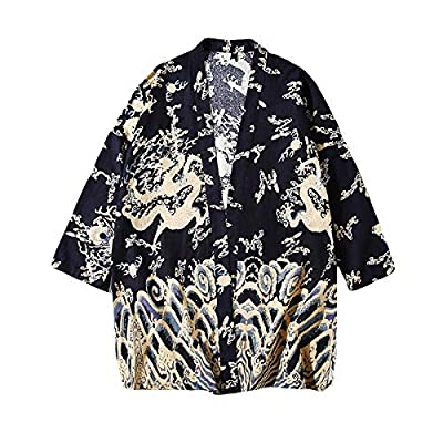 LifeHe Men's Japanese Dragon Printed 3/4 Sleeve Linen Kimono Cardigan Jackets