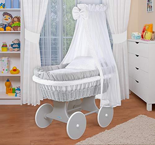 WALDIN Baby Stubenwagen-Set mit Ausstattung,XXL,Bollerwagen,komplett,18 Modelle wählbar,Gestell/Räder weiß lackiert, grau/Punkte grau