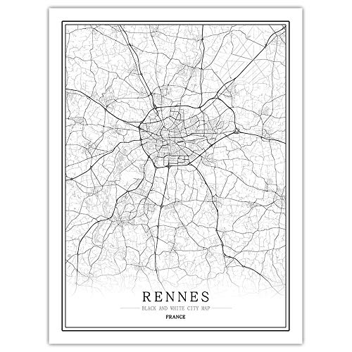 Diy 5D Diamante Pintura Kits Para Adulto,France Rennes City Map Full Drill Crystal Embroidery Arts Canvas,Living Room Study Bedroom Home Wall Decor,Painting By Numbering Kit For Beginners,60*80Cm (No