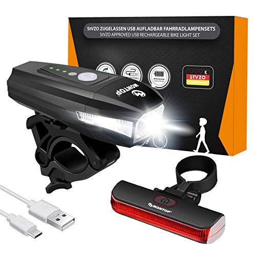 StVZO Zugelassen Fahrradlicht Set USB Akku, LED Fahrradbeleuchtung【2021 Model】 Fahrradlampe, Bike Light Fahradbeleuchtungsset INKL. Frontlichter & Rücklicht, Fahrradlichter für Kinder und Erwachsene