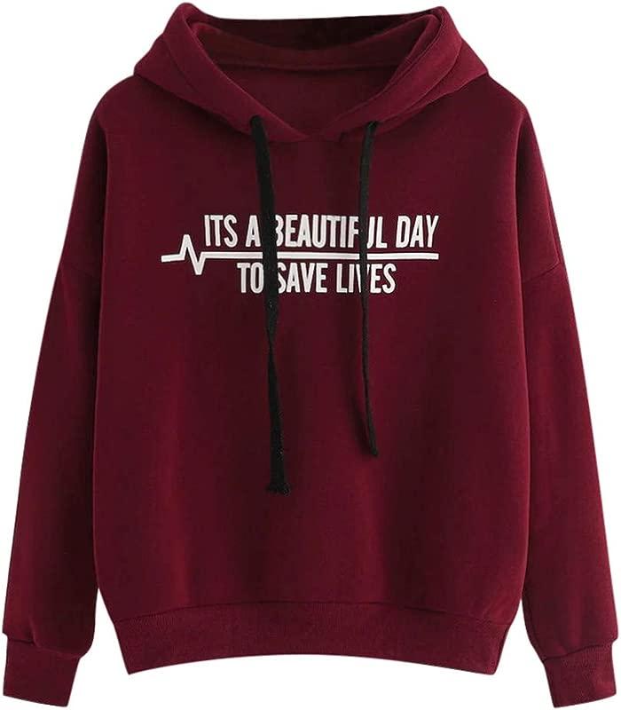 Jushye Women S Tops Teens Girl Long Sleeve Hoodies Fashion Letter Printed Hooded Hoody Sweatshirt Pullover Tees Blouse