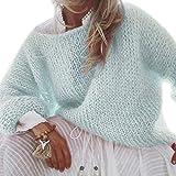 LAOLEE Damen-Pullover, langärmelig, flauschiges Mohair, Grobstrick