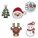 4 piezas de serie navideña broche de metal, broche lindo de dibujos animados, bolsa de ropa, chaqueta, chaqueta, joyería, accesorios de bricolaje, Papá Noel, muñeco de nieve, reno, árbol de Navidad