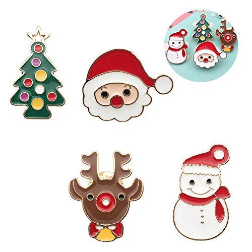 4 pezzi di spilla in metallo spilla serie natalizia, cartone animato carino spilla borsa abbigliamento borsa giacca giacca gioielli accessori fai da te, Babbo Natale, pupazzo di neve, renna, pino