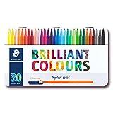 STAEDTLER Triplus Color 323 M30, Rotuladores de colores de punta fina multicolor, Estuche con 30 marcadores