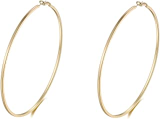 Big Gold Hoop Earrings,Square Line Round Hoop Earrings For Women Girls Gift 100mm