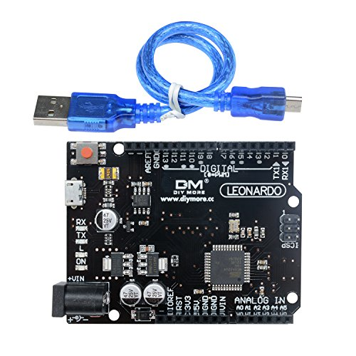 Diymore Leonardo R3 ATMEGA32U4-AU Microcontroller Development Board for Arduino Leonardo with Headers and USB Cable