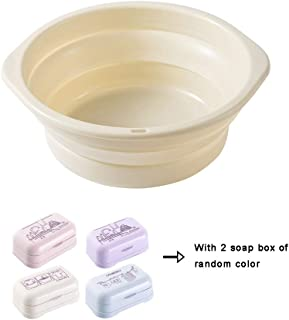 Collapsible Wash Basin with 2 Soap Box,Hanging Plastic Basin for Household,Outdoor and Travel (Large),Beige