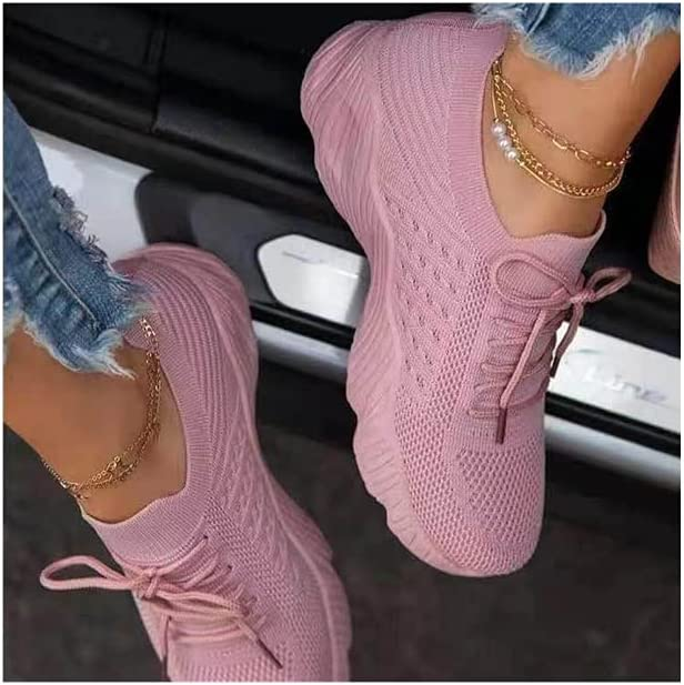 Womens Athletic Running Shoes Sneakers Plus Size Fashion Casual Fly Woven Mesh Breathable Lightweight Casual Walking Shoes Comfortable Workout Tennis Shoes