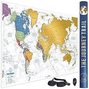 Mapamundi para rascar para viajeros y familias - Scratch off world map poster más grande (59.5 x 5.5 cm) y con más destinos - Incluye antifaz para un sueño profundo y reparador