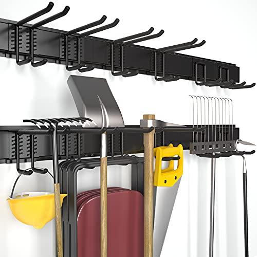 T-SIGN Reinforced Garage Organizer Rack - Wall Mount Lawn Tool Storage - Yard Tool Hanger Garden Organization for Garden Tools, Bikes, Folding Chair, Ski, Max Load 450bls, Black