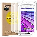 pinlu [4 Pack Protector de Pantalla de Cristal para Motorola Moto G3 Protector Cristal Vidrio Templado [9H/2.5D/0.26mm, 99% TransPrincipale]
