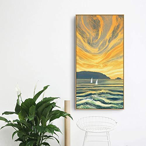 Nordische Kunst Landschaft Leinwand Malerei Plakate und Druck Wandkunst Bilder Wohnzimmer Esszimmer Treppen Wandbild 50X90CM