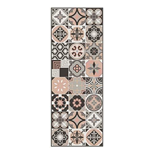 Alfombra Vinílica, 120 x 45 cm, Baldosas, Alfombra de Vinilo para Salón, Cocina, Baño y Pasillo, Retro, ALV-049-RE