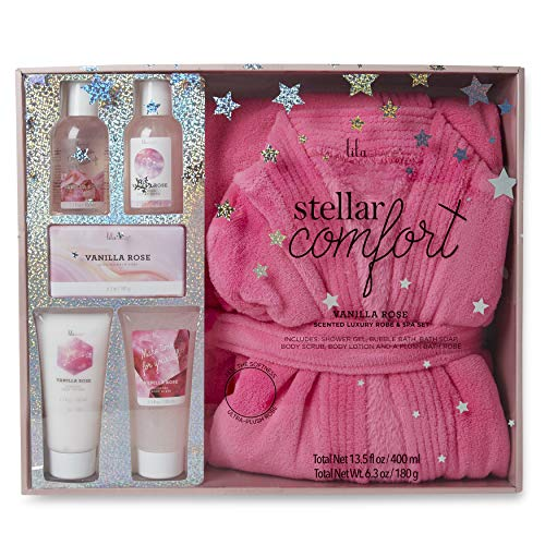 Charming Charlie Lila Grace Plush Robe and Bath Set - Body Care Essentials, At-Home Spa Collection - Pack of 6