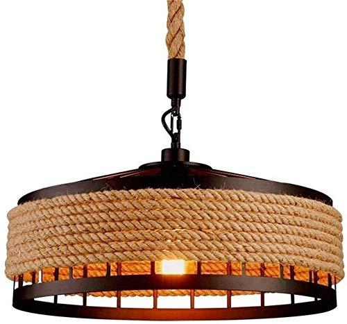 VanFty Lampada a sospensione Lampada vintage corda lampada a sospensione, retrò ferro industriale vintage loft plafoniera lampadario lampadario rustico corda di canapa in ferro illuminazione del pende