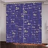 WAFJJ Juego de 2 Cortinas Púrpura y Tabla periódica para Dormitorio Salón Habitación Comedor con Ojales, Decoración de Ventana Semiopacas Tamaño: 140x260cm(An x Al)
