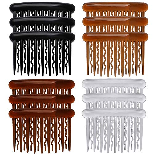 SUMAJU 12 Pcs Hair Combs for Women, Portable Side Comb Hair Accessories Plastic Teeth Hair Side Combs, Wavy Teeth Hair Comb for Fine Hair (4 Colors)