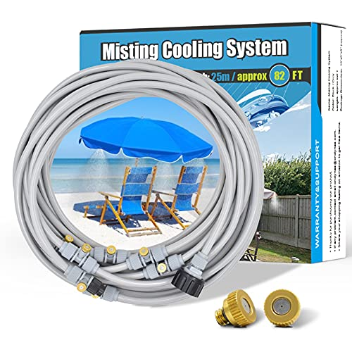 Patio Misters for Cooling - 83FT Outdoor Water Misting System, Misting Fan Line, Garden Hose Mister for Greenhouse Backyard Trampoline with Upgraded 25 Copper Metal Mist Nozzles