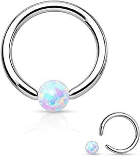Opal Captive Bead Synthetic Opal Ball 316L Surgical Steel Silver Spakle