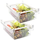 Shopwithgreen 2 Pack Refrigerator Organizer Bins with Handle, Pull-out Fridge Drawer Organizer, Freely Pullable Refrigerator Storage Box - 4 Divided Sections
