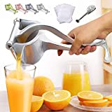 EJOYWAY Manual Fruit Juicer Portable Fruit Press Lemon Orange Squeezer Fruit Hand Squeezer Fruit Juicer Citrus Extractor Tool (Silver)