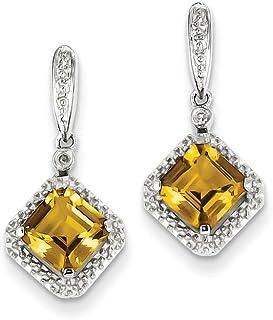 925 Sterling Silver Diamond Whiskey Quartz Post Stud Drop Dangle Chandelier Earrings Fine Jewelry Gifts For Women For Her