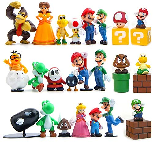 28Pcs Mario Brothers Action Figures Kids Toys Cake Toppers Collection Playset Super Mary Princess, Turtle, Mushroom, Orangutan, Super Mary Action Figures
