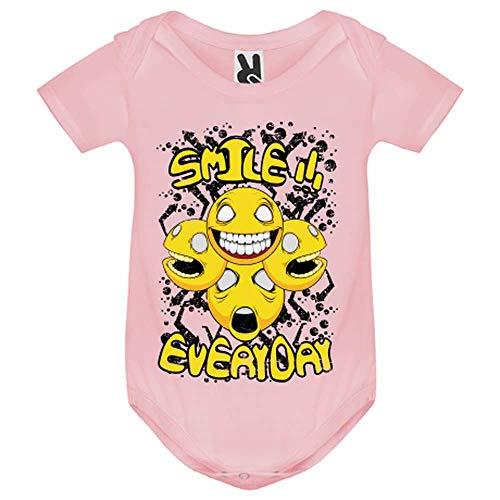 LookMyKase Body bébé - Smile Everyday - Bébé Fille - Rose - 6MOIS
