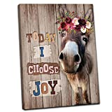 Rustic Canvas Wall Art Framhouse Decor Brown Donkey With Beautiful Flowers Art Wall Decor for Living Room Today I Choose Joy Quotes Posters Framed Home Decor Country Style Painting for Bedroom 16'x24'