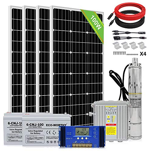 ECO-WORTHY 24V 400W Submersible Solar Water Well Pump Kit with 200Ah Battery, 3'' Solar Water Pump, 60A Controller and 16ft Cable for Irrigation Water Supply, Circulation, Garden