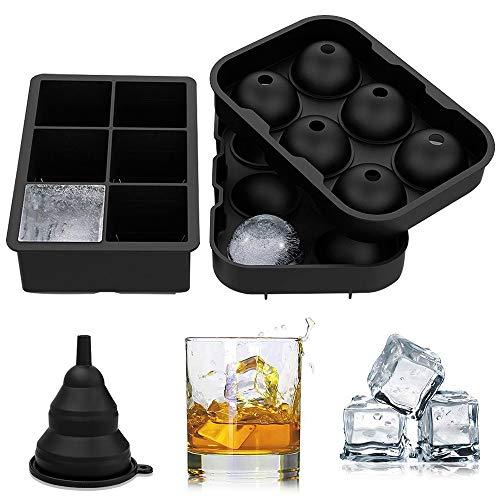 Eiswürfelform , solawill Silikon Eiswürfelform 45 mm Eiskugelform 50mm 6-Fach Eiswürfelbehälter Kühl Aufbewahren Würfel Eiswürfel für Bier, Cocktails, Whisky, Wasser, Soda, Obst, Pudding