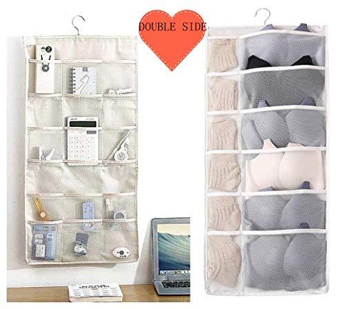Multilex Kleiderschrank-Organizer mit Taschen, doppelseitig, 30 Taschen, Wandregal, Kleiderschrank, Organizer, Aufbewahrungstaschen, Oxford-Stoff mit Aufhänger für Unterwäsche, Schuhe, Socken beige
