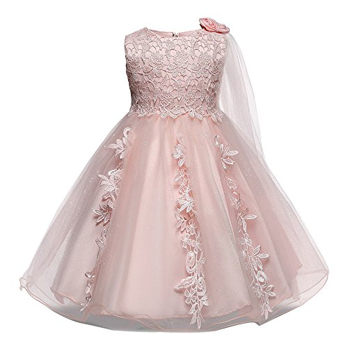 UFODB Baby Spitzenkleid Mädchen Brautkleider Hochzeitskleider Tutu Tüll Meerjungfrau Prinzessin Glitzer Kleid Mesh Festlich Blumenmädchenkleid Taufkleid Hochzeit Partykleid