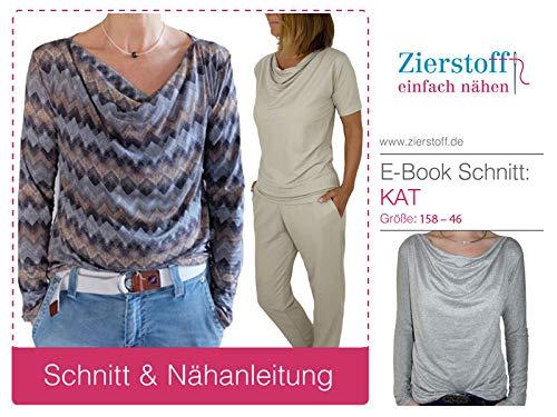 Papierschnittmuster/lässiges Shirt/Damenshirt/Wasserfallkragen/Gr. 158 bis Damengr. 46 inkl. Nähtutorial zum selber Nähen