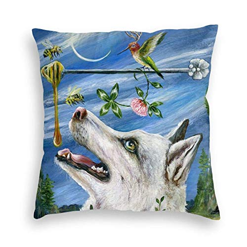Ahdyr Spring Husky Hummingbird Night Velvet Soft Square Throw Pillow Covers Home Decor Decorations Cushion Case for Indoor Sofa Bedroom Car 18 X 18 Inch