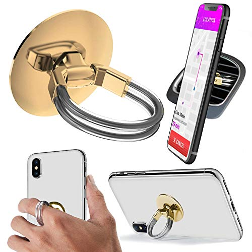Aduro Cell Phone Ring Holder, 3 in 1 Universal Phone Ring Stand Car Holder, Finger Grip Phone Holder for iPhone, Samsung Phone and Smartphones (Gold)