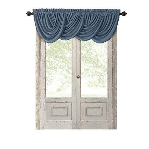 "Elrene Home Fashions All Seasons Room Darkening Rod Pocket Waterfall Window Valance, 52"" x 36"" (1, Dusty Blue"