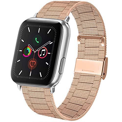 AK kompatibel mit Apple Watch Armband 38mm 40mm 42mm 44mm, Metall Edelstahl Ersatzarmband kompatibel mit iWatch Series 5/4/3/2/1 (03 Roségold, 42mm/44mm)