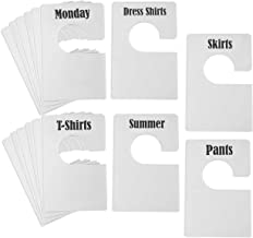 TraGoods 16 Pack White Clothing Rack Size Dividers Plus 60 Labels (1 Inch) and 16 Large Blank Labels, Large Rectangular Clothing Closet Dividers (Pearl White)